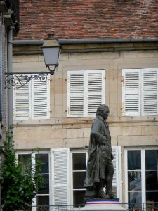 Langres - Statue of Denis Diderot (artwork by Frederic Bartholdi), lantern wall and facade of the old town