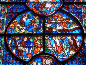 Laon - Inside Notre-Dame cathedral: stained glass windows of the choir