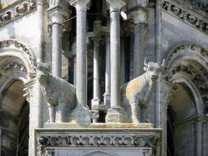 Laon - Statues of oxen adorning a tower of the western facade of the Notre-Dame cathedral