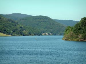 Laouzas lake - Lake and hills covered with trees (forests) in the Upper Languedoc Regional Nature Park