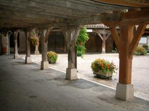 Lautrec - Under the arches of the Halles square (main square) with view of wooden pillars and flowers