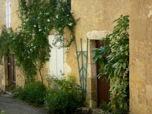Lavardens - Facade of a house decorated with climbing plants