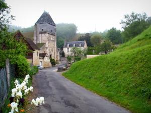 Lavardin - Flowers in foreground, street, Saint-Genest church of Romanesque style, and houses of the village