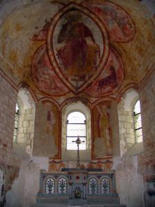 Lavardin - Inside of the Saint-Genest church: Romanesque frescoes (murals)