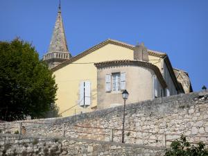 Lectoure - Ramparts (fortifications), lamppost, houses of the old town and steeple of the Saint-Esprit church