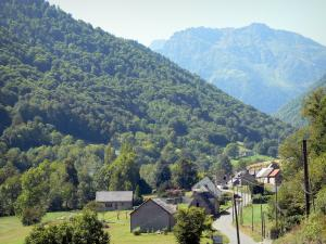 Lesponne valley - Houses of a hamlet and mountains covered with trees; in the Bigorre area