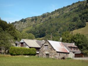 Lesponne valley - Stone houses, pasture and trees in the Bigorre area
