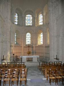 Lessay abbey - Inside of the Romanesque abbey church