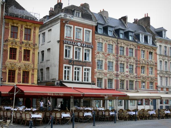 Lille - Houses and cafe terraces of the Grand'Place square (General de Gaulle square)