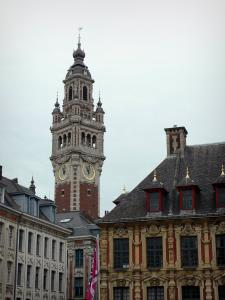 Lille - Vieille Bourse on the right and bell tower of the Chamber of Commerce and Industry
