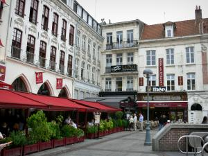 Lille - Houses and cafe terraces of the Rihour square