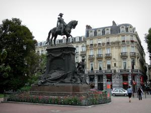 Lille - Equestrian statue of the General Faidherbe and the buildings of the city