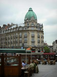 Lille - Café terraces, buildings and houses of the city