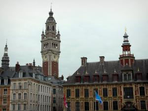 Lille - Vieille Bourse with its bell tower, houses, and bell tower of the Chamber of Commerce and Industry dominating the set