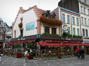Lille - Café terrace and houses of Vieux-Lille (old town)