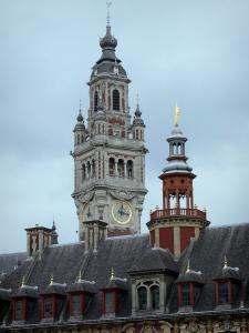 Lille - Bell tower of the Vieille Bourse and the bell tower of the Chamber of Commerce and Industry
