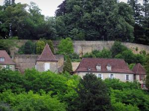Limeuil - Houses of the medieval village and trees, in Périgord