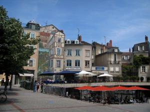 Limoges - Motte square with cafe terraces, fake painted facade and houses