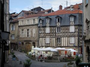 Limoges - Fontaine-des-Barres square with café terrace, fountain and houses