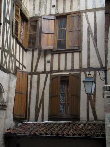 Limoges - Facade of a timber-framed house and a lamppost