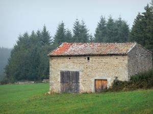 Livradois-Forez Regional Nature Park - Stone hut in a pasture and trees in the background