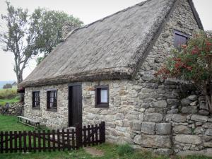 Livradois-Forez Regional Nature Park - Stone house with a thatched roof (thatched cottage) in the Forez mountains