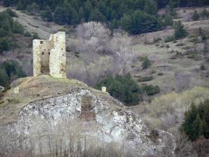 Llo - Tour del Vacaro tower, watchtower and its surrounding landscape, in the heart of Cerdagne, in the Regional Natural Park of the Catalan Pyrenees