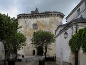 Loches - Royal gateway (fortified gate) leading to the citadel, trees and houses of the city