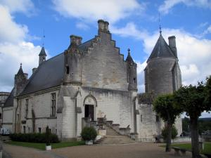 Loches - Royal residence, trees and clouds in the blue sky