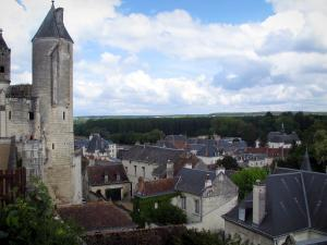 Loches - Agnès Sorel tower with view of the roofs of the city, clouds in the sky