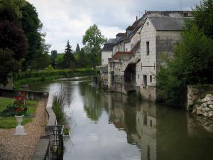 Loches - The River Indre, trees and houses along the water