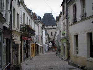 Loches - Street of the old town, lined with houses, leading to the Cordeliers gateway