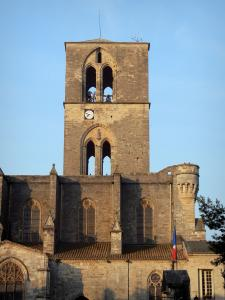 Lodève - Bell tower of the ancient Saint-Fulcran cathedral, fortified Gothic building