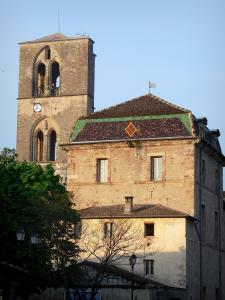 Lodève - Bell tower of the ancient Saint-Fulcran cathedral, former bishop's palace (Town hall) and its roof of glazed tiles