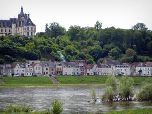 Loire Valley - Château de Chaumont-sur-Loire, trees, houses of the village and the Loire River