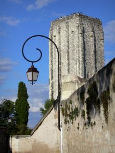 Loudun - Square tower, lamppost, walls and trees