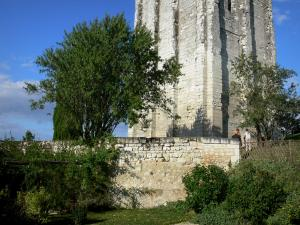 Loudun - Square tower, trees and medieval-style garden