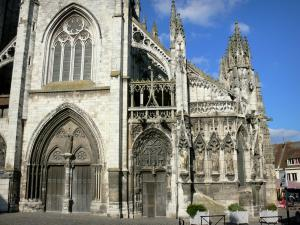 Louviers - West facade of the Notre-Dame church of Gothic style