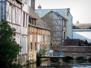 Louviers - Facades of half-timbered houses along the water