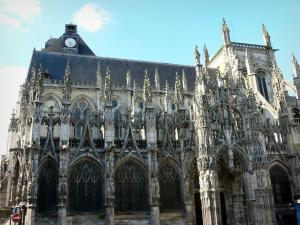Louviers - Notre-Dame church: southern facade and porch of Flamboyant Gothic style