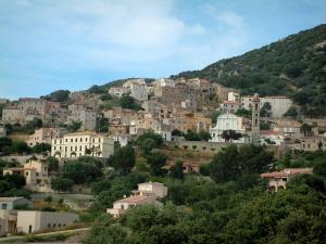 Lumio - Houses and church in the village (in the Balagne region)