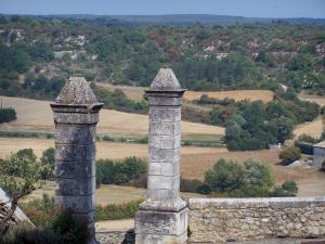 Lussan - Pillars in the foreground dominating the surrounding landscape