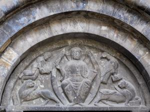 Luz-Saint-Sauveur church - Carved tympanum (Christ in Majesty) of the gate of the Saint-André fortified church (church of the Templars)