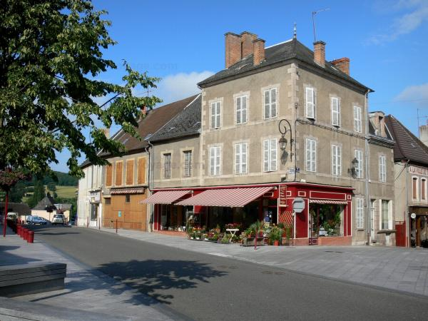 Luzy - Facades of houses in the town; in the Regional Natural Park of Morvan