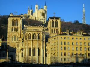 Lyon - Saint-Jean cathedral, house in old Lyon, the Fourvière basilica and metal tower