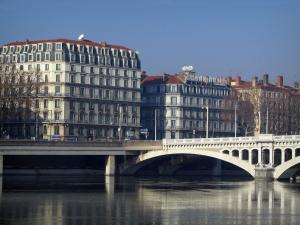 Lyon - The Wilson bridge, the Rhone river, the Jules Courmont quay and buildings of the Peninsula
