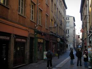 Lyon - Old Lyon: Saint-Jean street with its houses, shops and restaurants