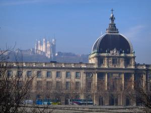 Lyon - Peninsula: former hospice home to the Civil Orphanages museum and the Fourvière basilica in background