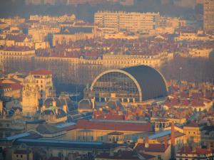 Lyon - From the Fourvière esplanade, view of the town hall, the opera and the buildings of the city