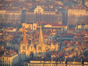 Lyon - From the Fourvière esplanade, view of the Saint-Nizier church and the buildings of the city
